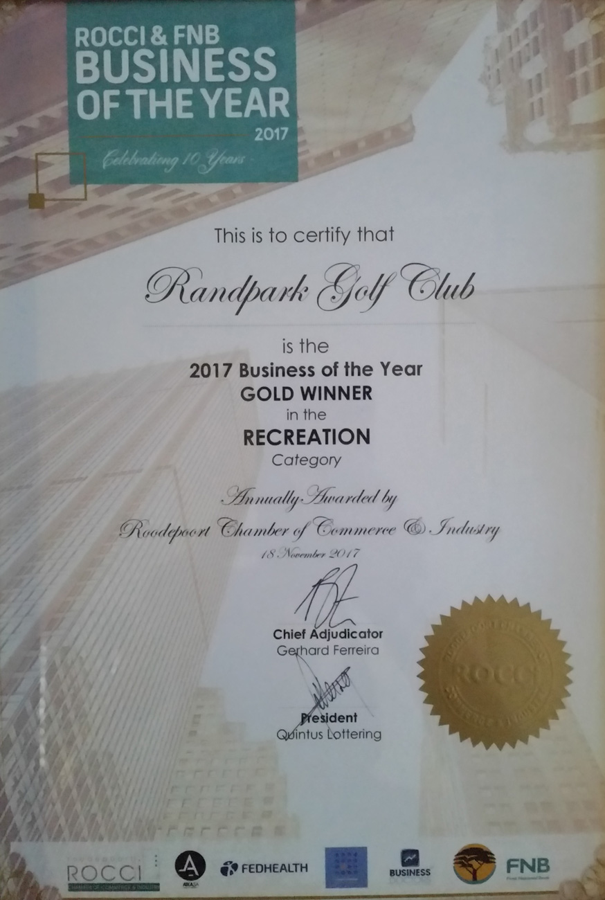 ROCCI/FNB Gold Award for Business of the Year in the Recreation Category (2017)
