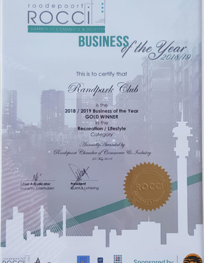 ROCCI/FNB Gold Award for Business of the Year in the Recreation and Lifestyle Category 2018