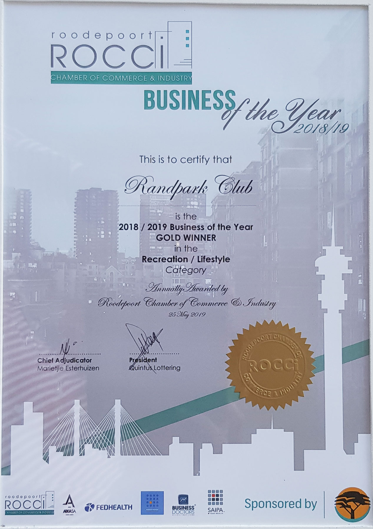 ROCCI/FNB Gold Award for Business of the Year in the Recreation and Lifestyle Category (2018/2019)